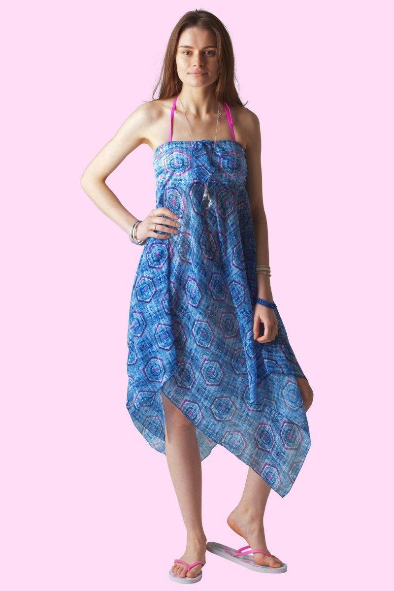 Aztec Blue Sophie Sarongs Swimwear and Bathing suit cover up